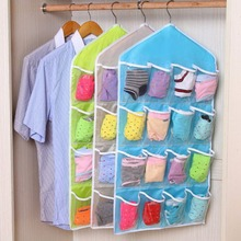 2017 Fashon Save Space Storage Bag Thick New Multifunction Door Wall Hanging Clear Socks Cosmetic Dustproof Underwear Closet O(China)