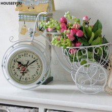 European Garden Bicycle Desktop Clocks White Bike Iron Art High Quality Desk Table Clock Antique Needle Digital Home Desk Clock