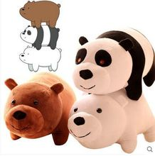 We Bare Bears Popular Cartoon 3pcs/set 25cm Grizzly Ice Bear Panda Plush Soft Doll Animal Stuffed For Baby Kids Birthday Gift(China)