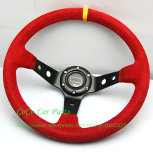 14 inch Racing Car Steering Wheel with Aluminum Red Suede 350mm Diameter Deep Dish For Racing Car Universal Fitment