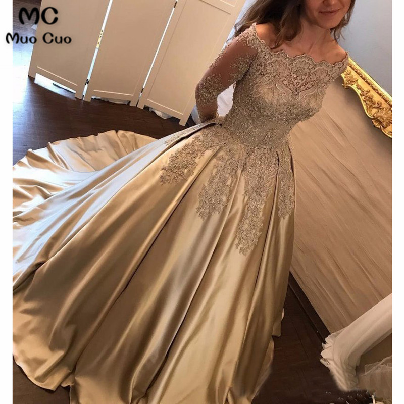 Off Shoulder Long Sleeve Gold A line Sparkly Evening Prom Dresses, Popular Sweet 16 Party Prom Dresses, Custom Long Prom Dresses