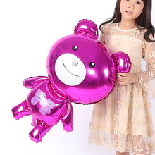 FANTASTIC IDEA Purple Teddy Balloon, Cartoon Birthday Party Balloon Air Traveler Balloon Children Baby Toys Holiday Decoration