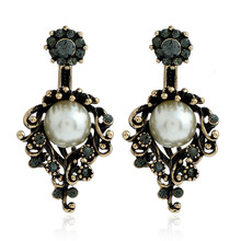 Charm Vintage Rhinestones imitate Pearl Earings Women Jewelry Antique Flower Crystal Earring Jackets YWKQ4924(China)