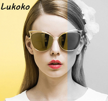 Luxury Fashion Cat eye sunglasses for women High quality alloy frame lens Prevent sun Glasses oculos de sol