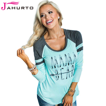 Jahurto T Shirt Women Mama Bear Shirt Fahion Blue And Gray Patchwork O Neck Long Sleeve Printed Cotton Tops Tee Shirts
