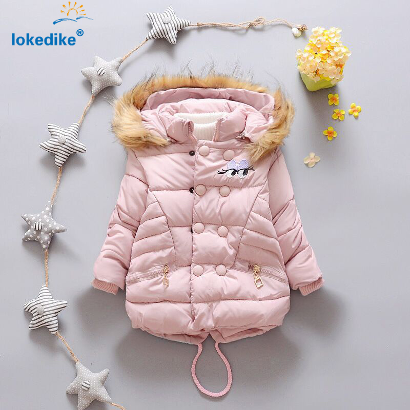New Children Coat Winter 2017 Lovely Girl Clothes Thick Fur Hooded Winter Jacket Kids Warm Coats Cotton Padded Clothing T2821Одежда и ак�е��уары<br><br><br>Aliexpress