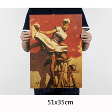 Hand-painted sexy girl painting poster movie classic poster vintage retro paper craft for bar pub cafe home decoration 51X35CM(China)