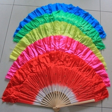 Free shipping 10pcs/lot Chinese style silk veil belly dance fan bamboo frame silk hand fan with 5colors available(China)