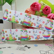 7/8'' Free shipping Easter rabbit egg printed grosgrain ribbon hairbow diy party decoration wholesale OEM 22mm P2002