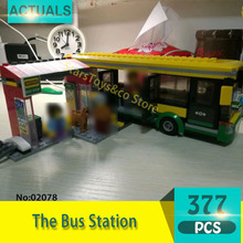 02078 377Pcs City series The Bus Station Building Blocks Set Bricks Toys For Children Gift Funny Christmas Gift 60095(China)