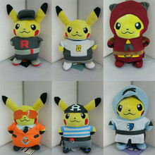 "6 Style Kawaii Pikachu Plush Toys Cosplay Team Rocket Stuffed Plush Animals Doll Kids Baby Best Toy Birthday Gift 8"" 20CM"