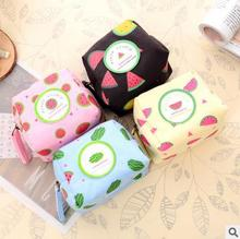 The new 2017 new models Han edition creative fruit watermelon canvas change purse Recreation key bag(China)
