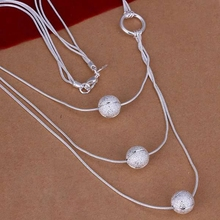 Free Shipping!!Wholesale silver plated Necklaces & Pendants,925 jewelry silver,Three Sand Bead Necklace SMTN187