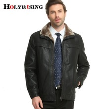 Holyrising men Leather Jacket Europe Style Classic Winter Men's Thick Coat pilot leather jacket Warm Soft Pu Jackets #17091(China)