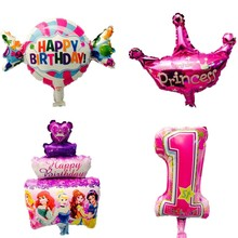 mini Kids Birthday foil balloons party decorations candy cake crown globos inflatable balloon Kids toy baby shower supplies(China)