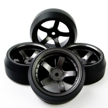 4pcs/set RC Car Tires Set Flat Wheel Rim 12mm Hex Fit HPI 1:10 On-Road Racing Car Offset 6mm D5M+PP0369 Vehicle Toys Accessories(China)