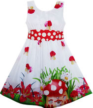 Sunny Fashion Girls Dress Mushroom Flower Grass Polka Dot Belt Red 2016 Summer Princess Wedding Party Dresses Clothes Size 4-12