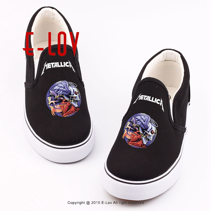 Cool Women Canvas Shoes 3D Printed Metallica Iron Maiden Skulls Rock Canvas Shoes 2017 New Girls Hip Hop Flat Casual Loafers<br>