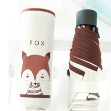 Brand 3 Folding Umbrella Rain Women White Quality Sunscreen Umbrellas Ladies Deer/Fox Pattern Parasols