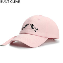 (BUILT CLEAR) Baseball Cap Women Snapback Hat Casual Bend Eagle Embroidered Skull Long Tail Black White Hat wholesale