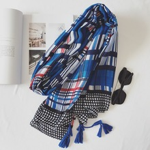 Women Winter Scarf Blue British Plaid Pashmina Classical Tassels Blanket Wrap New 180x100 cm [1897](China)