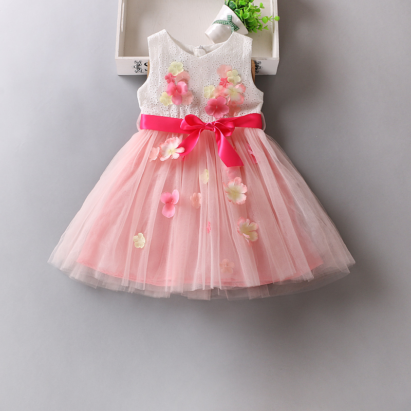 White Flower Girl Petals Dress Pageant Wedding Bridal Dress Children Bridesmaid Toddler Elegant Dress<br>