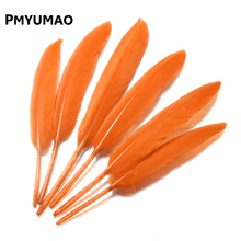 Brand FEATHER#12pcs Natural Orange Goose Feather Best Price BIG Promotion 8-15cm Decoration Wedding DIY Material Accessories(China)