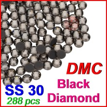SS30 6.4-6.6mm,288pcs/Bag Black Diamond DMC HotFix FlatBack Rhinestones,machine cut iron-on garment heat transfer crystal stones