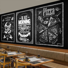 Free Shipping Blackboard personalized hand mural Cafe fast food restaurant leisure bar milk tea shop wallpaper mural