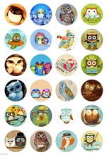 Wholesale Owl Y78 24PCs Glass Snap Buttons For Snap Jewelry DIY Fit Charm Bracelet Necklace 20mm Snaps