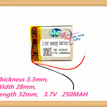 332832 3.7 V 250 MAH lithium polymeer batterij MP3 MP4 batterij recorder Oplaadbare batterijen Tablet batterij(China)