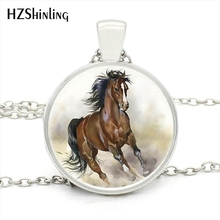 HZ1-MINI-0029 New Fashion Cool Horse Necklace Handmade Glass Cabochon Necklace Running Horse Pendant Jewelry Wholesale