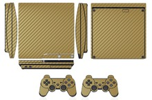 Golden Carbon Fiber Vinyl Skin Sticker Protector for Sony PS3 Slim PlayStation 3 Slim and 2 controller skins Stickers