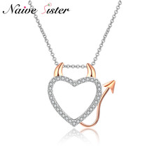 Little Demon Love Pendant Necklace Cute Heart Pendants Necklaces For Women Lady AAA Cubic Zirconia Jewelry Rose Gold Color Gift(China)
