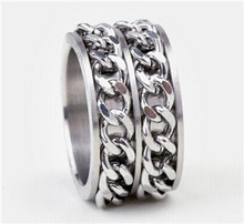 Tiger Totem free shipping quality Individuality Fashion wholesale Double iron chain rings Titanium steel sell well accessories(China)