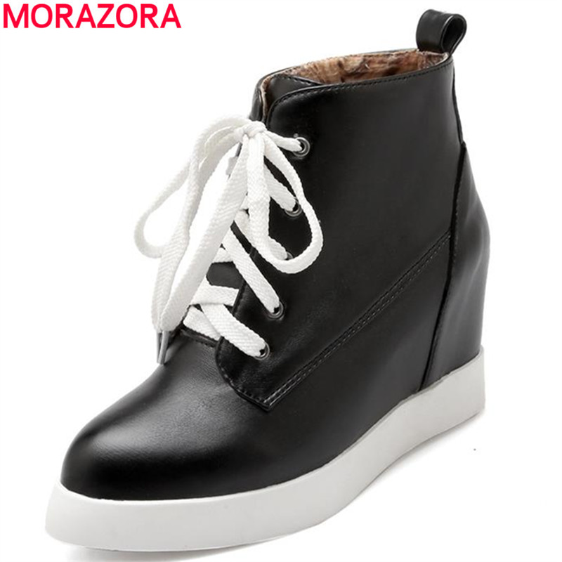 2017 new arrival pointed toe flat autumn college fashion height increasing women boots solid white black ankle boots<br><br>Aliexpress