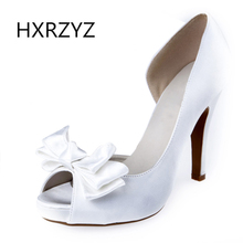 women fashion fish mouth open toe wedding shoes silk surface bow ladies high heel sandals bridal shoes white red black big size