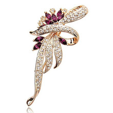 H:HYDE 2016 Crystal Flower Brooch Lapel Pin Fashion Rhinestone Jewelry Women Wedding Hijab Pins Large Brooches For Women(China)