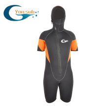 Mens shorty wetsuit 5mm neoprene jumpsuit hooded wet suit front zipper short sleeve spring surf winter swimwear(China)