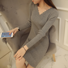 2017 Korean Women Autumn Winter Knitted Dress Sexy V Neck Long Sleeve Slim Bodycon Mini Sweater Dress Women Sweater and Pullover