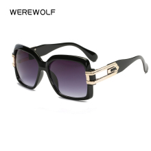 2017 WEREWOLF Fashion Hot Oversized Man Square Brand Designer Flat Top Cz Sun Glasses Hip Hop Five Grandmast Vintage Sunglasses