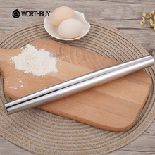 WORTHBUY Hot Sale 1 Pcs 304 Stainless Steel Rolling Pin Fondant Cake Baking Tools Hollow Sliver Non Stick Pizza Cake Roller