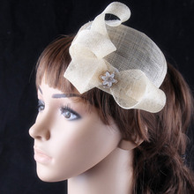 Multiple color fascinator hat sinamay base and trim with rhinestome adorned wedding bridal headwear cocktail hair accessories(China)