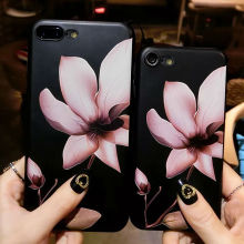 Fashion Retro 3D Paint Relief White Flower Phone Case For iPhone 6 6S 7 Plus Vintage Embossed Michelia TPU Silicone Soft Cover
