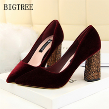 red extreme high heels shoes woman luxury brand buckle Square heel bigtree shoes OL sexy pumps bridal wedding women shoes saltos(China)