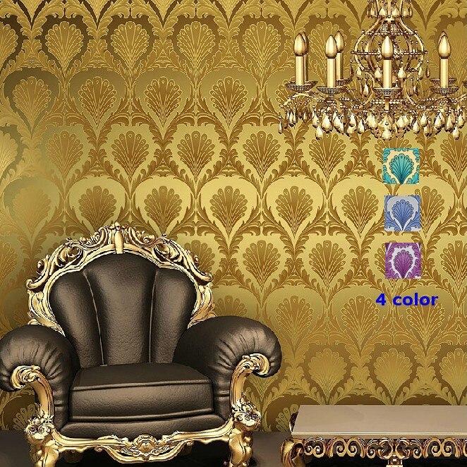 beibehang papel de parede Classic Luxury Damak foil golden 3D Wallpaper Roll For Wall paper  Bedroom Sofa TV Backgroun<br>