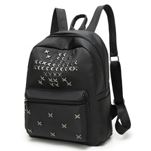 2017 new Korean fashion woman trend black ladies shoulder bag rivets package casual students backpack Lady bags Big bag packet