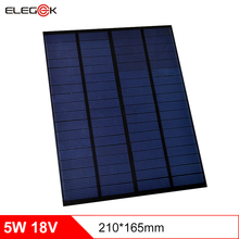 ELEGEEK 5W 18V Polycrystalline Solar Cell Panel PET Mini Solar Panel Charging for 12V Battery DIY Solar Home System 210*165mm(China)