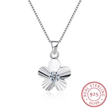 925 Sterling Silver Fine Jewelry Pendant Necklace Flower Ribbon Women Gift 18inch Box Chain Jewels Wedding Party Collar N0009