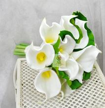 Handmade Wedding Bouquets Floral Bridal Bridemaids Bouquet Green White Pu Calla Lily Artificial Flowers Wedding Supplies 2 Sizes(China)